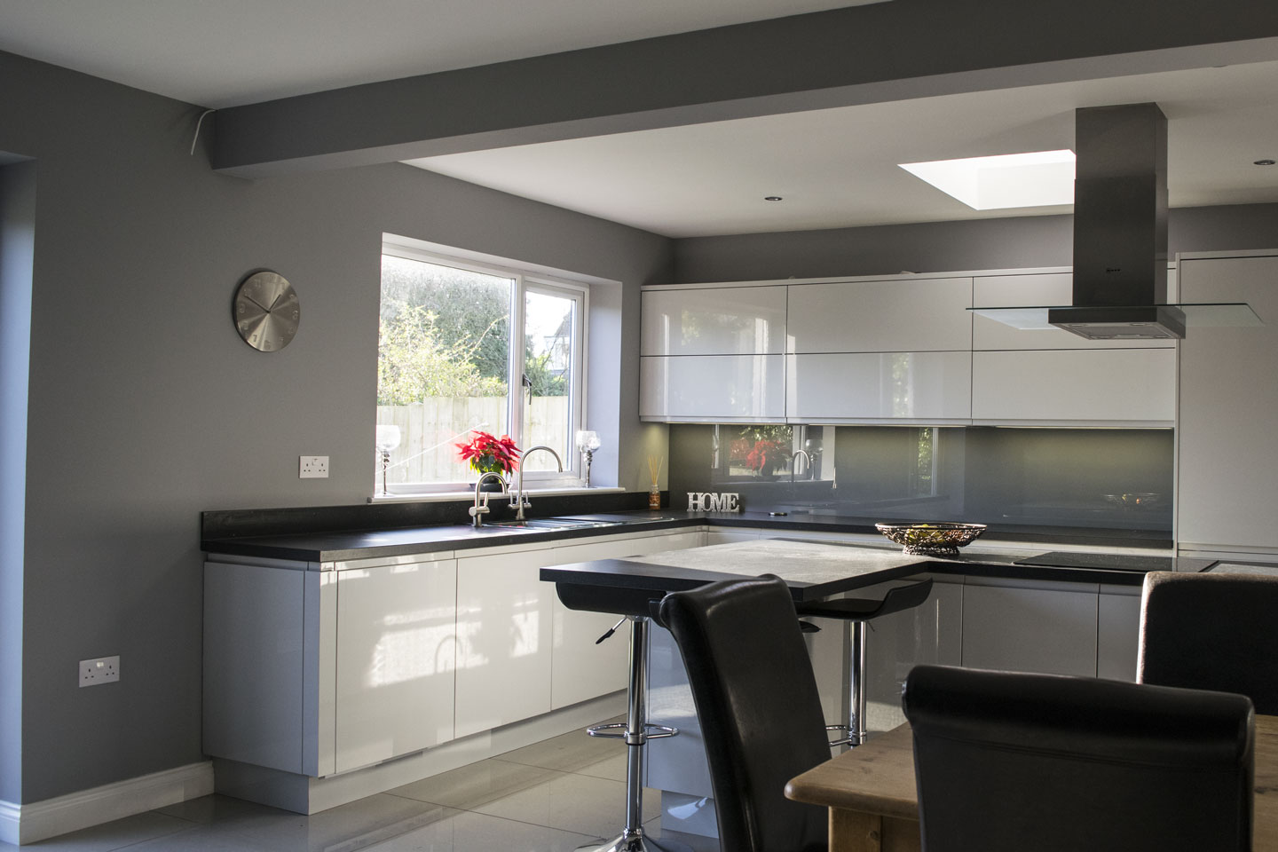 Finished plastering in painted modern kitchen.